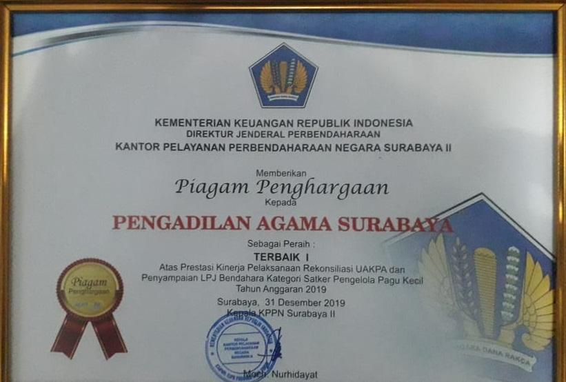 Penghargaan Akhir Tahun 2019 Kesekretariatan Pengadilan Agama Surabaya